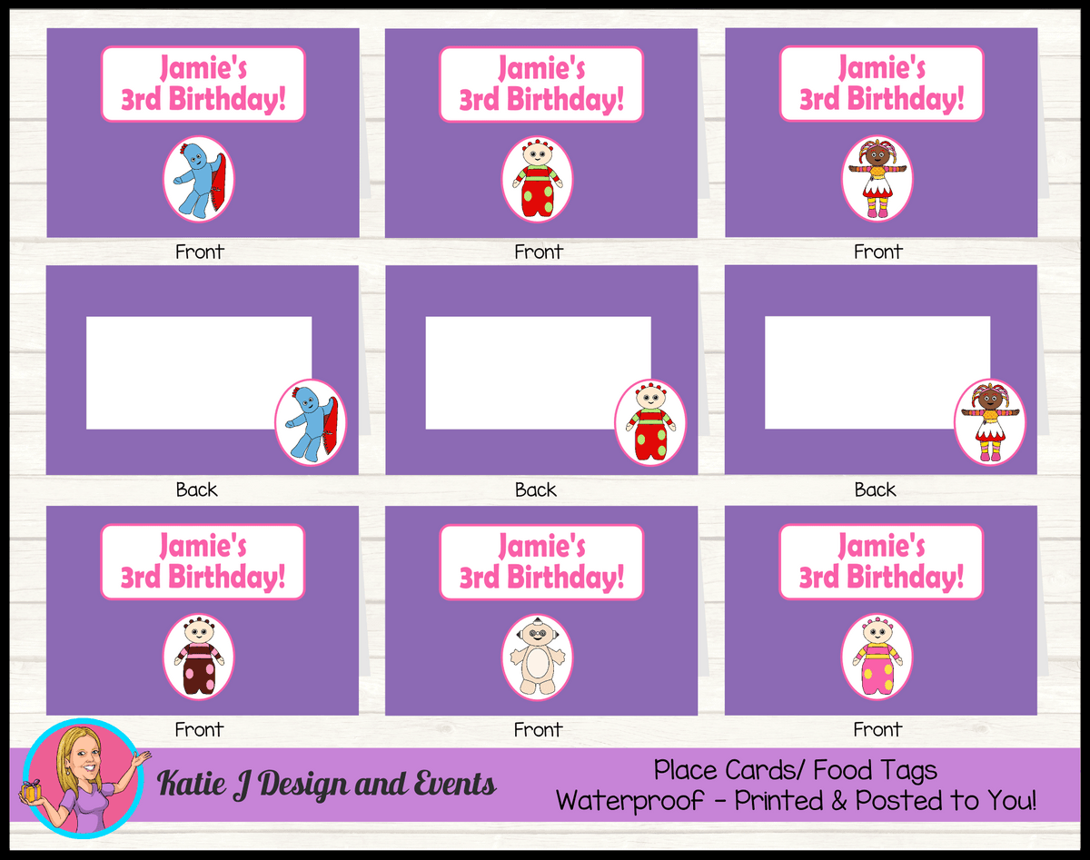 Personalised Girls In the Night Garden Party Place Cards
