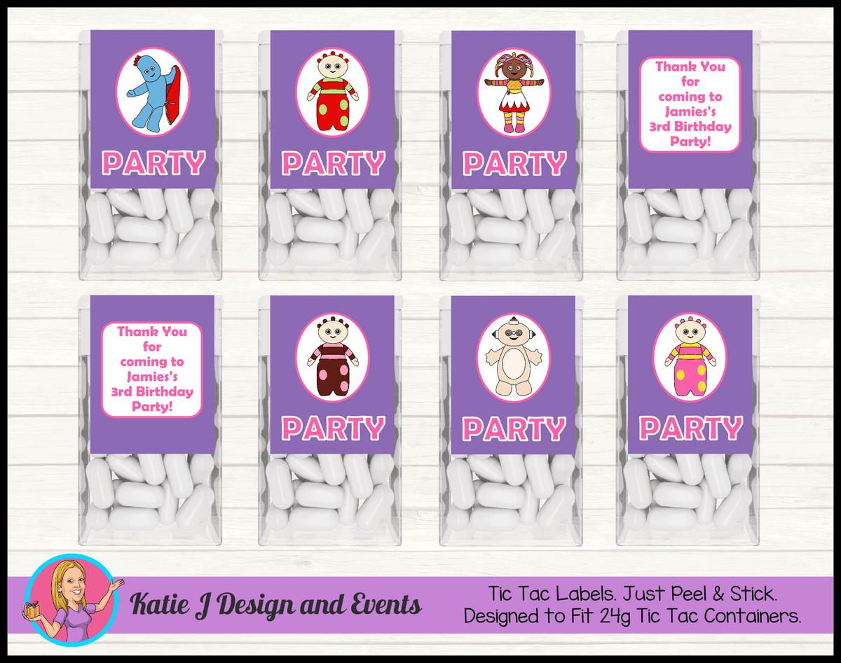 Personalised Girls In the Night Garden Party Tic Tac Mint Labels