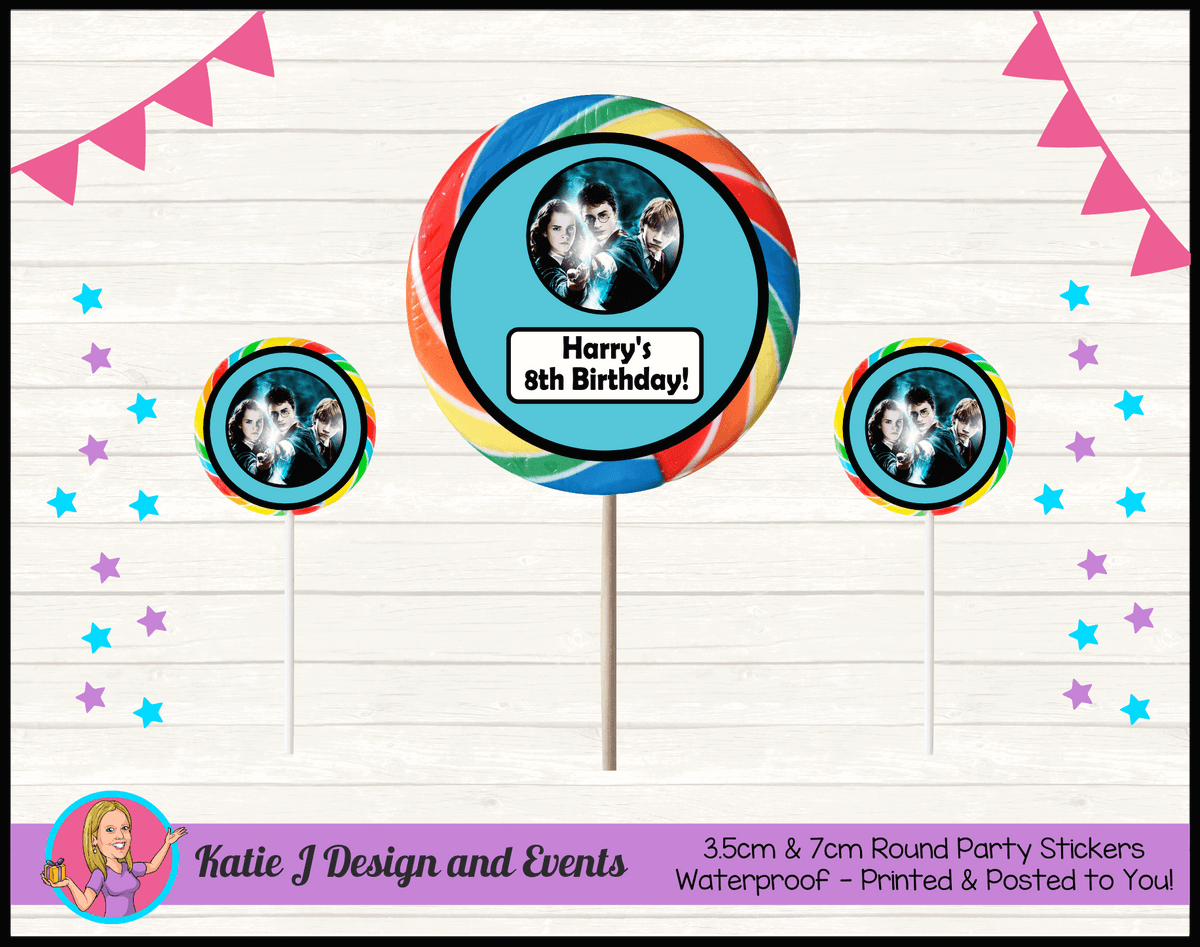 Personalised Harry Potter Birthday Party Round Lollipop Stickers