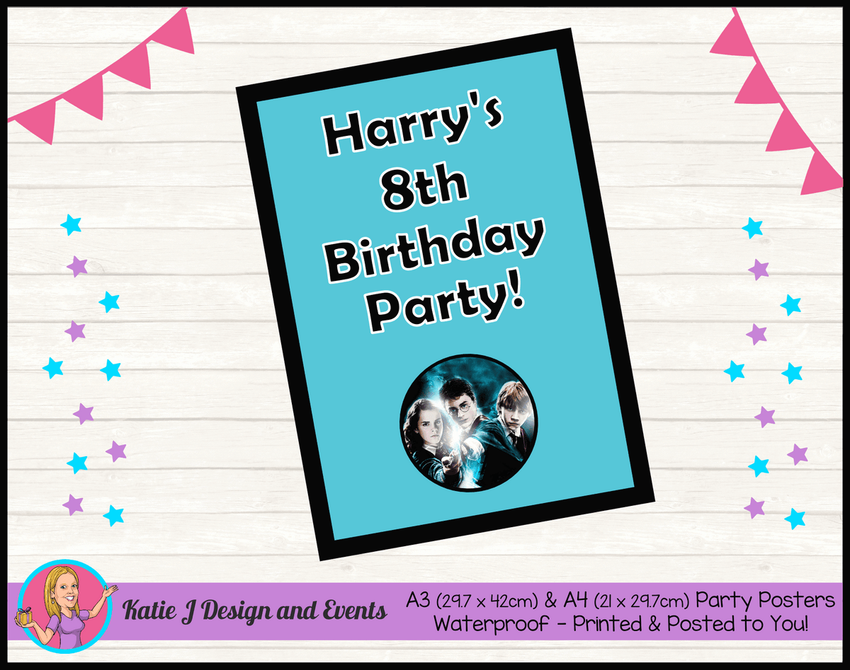Personalised Harry Potter Birthday Party Posters