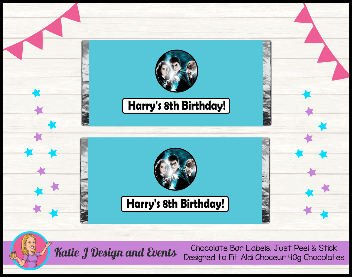 Personalised Harry Potter Birthday Party Mini Chocolate Labels Wrappers