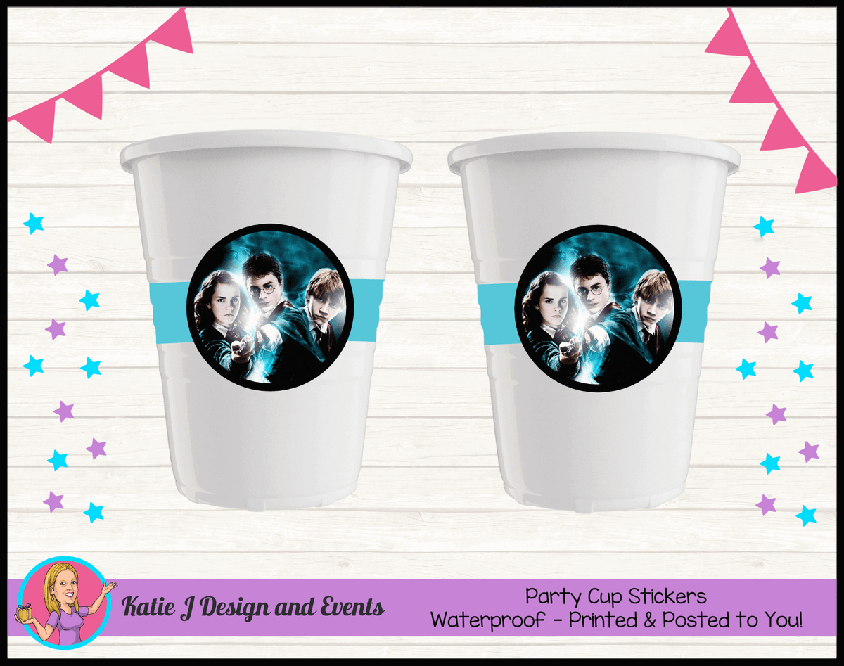 Personalised Harry Potter Birthday Party Cup Stickers Cups