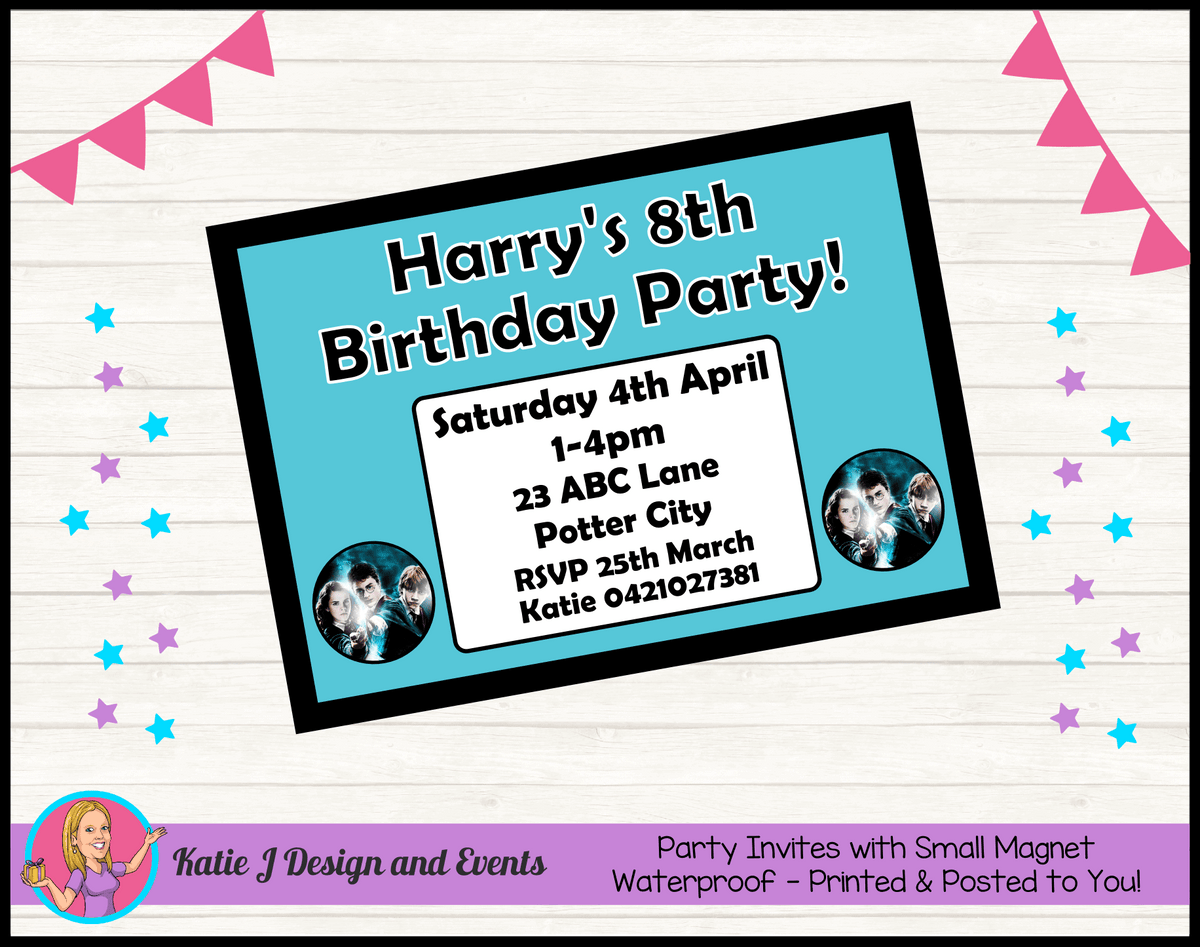 Personalised Harry Potter Birthday Party Invites Invitations