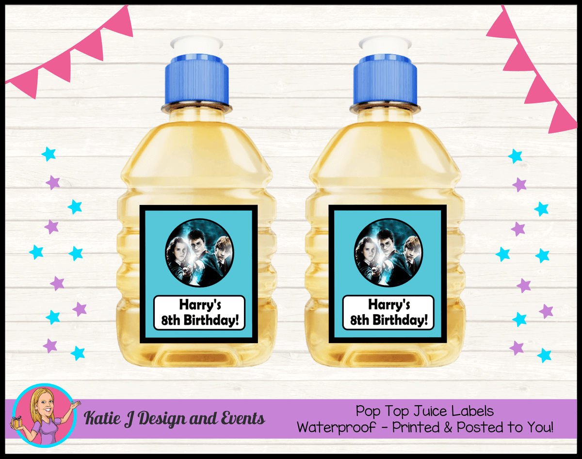 Personalised Harry Potter Birthday Party Pop Top Juice Labels