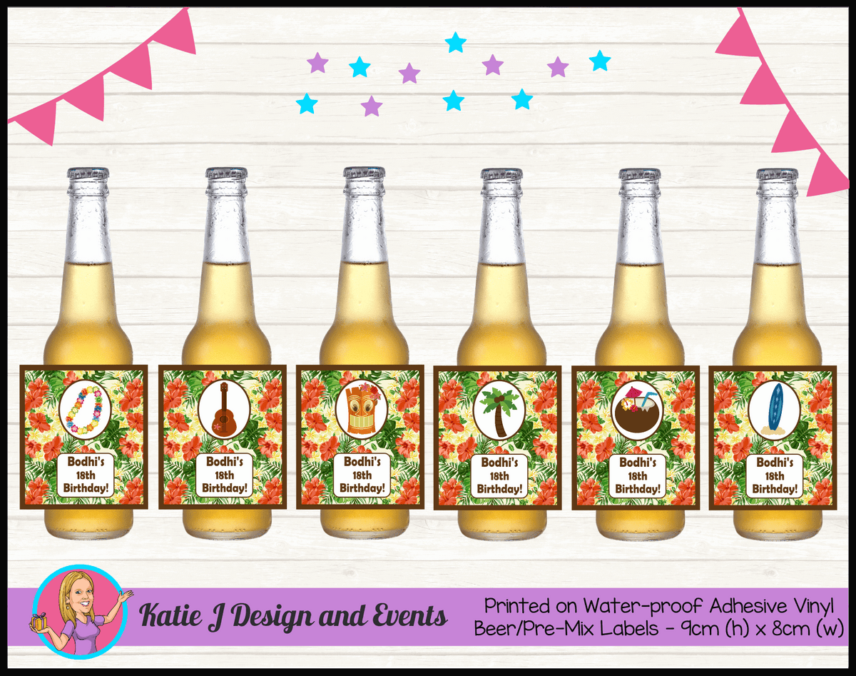 Personalised Hawaiian Birthday Party Beer Bottle Labels