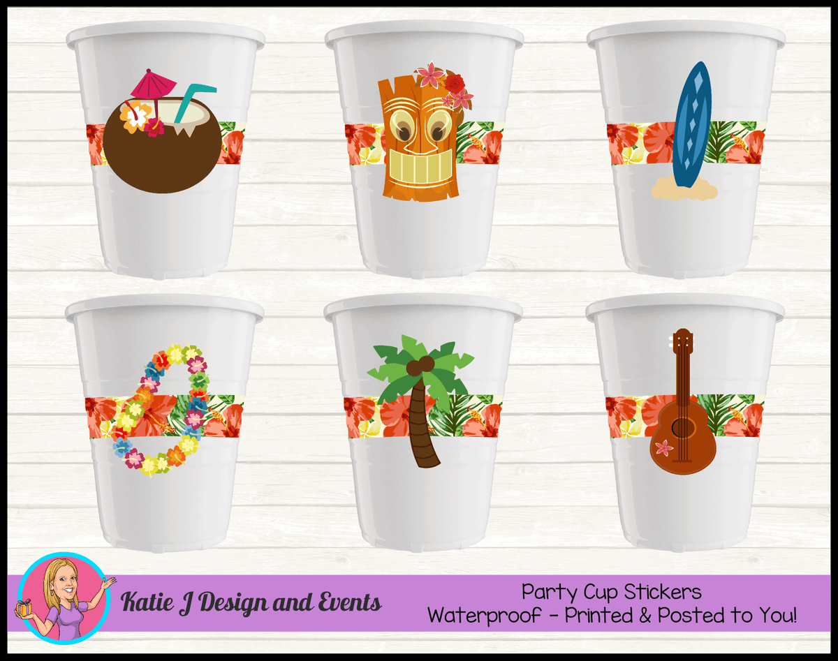 Personalised Hawaiian Birthday Party Cup Stickers Cups