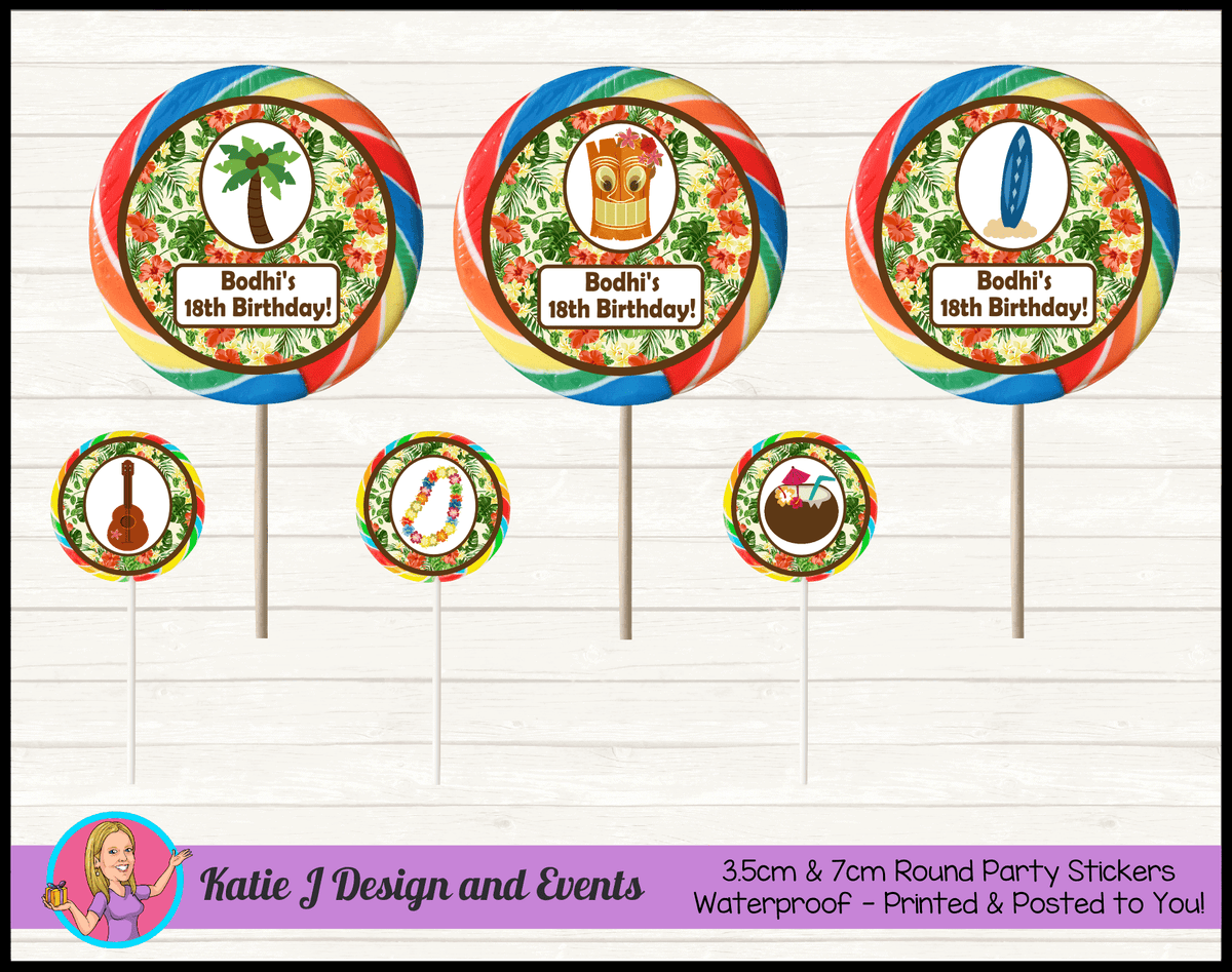 Personalised Hawaiian Birthday Party Round Lollipop Stickers