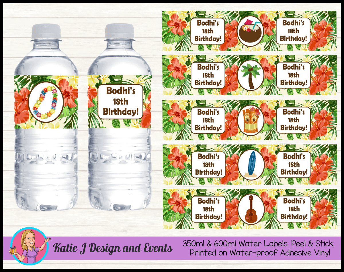 Personalised Hawaiian Birthday Party Water Bottle Labels