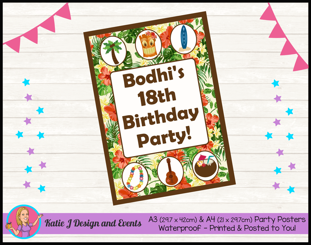 Personalised Hawaiian Birthday Party Posters
