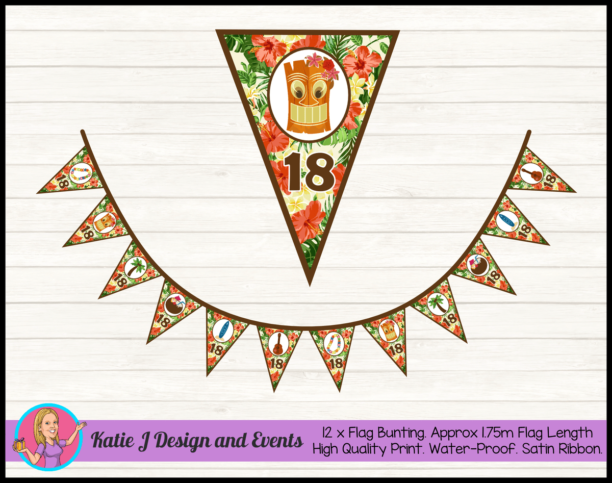 Personalised Hawaiian Birthday Party Flag Bunting