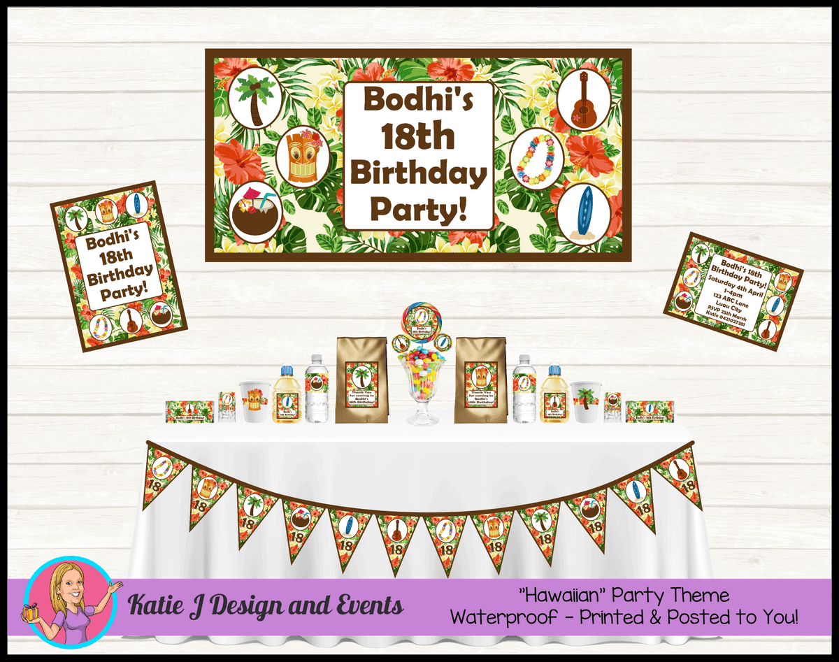 Personalised Hawaiian Party Packs Decorations Supplies
