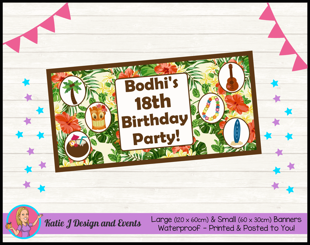 Personalised Hawaiian Birthday Party Banners