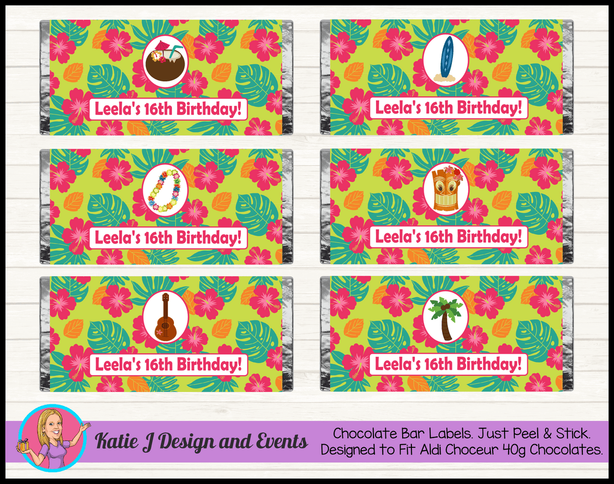 Personalised Ladies Hawaiian Birthday Party Chocolate Labels Wrappers