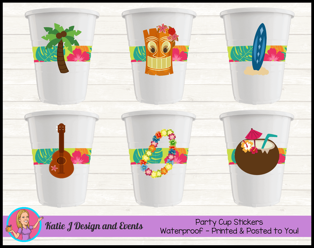 Personalised Ladies Hawaiian Birthday Party Cup Stickers Cups