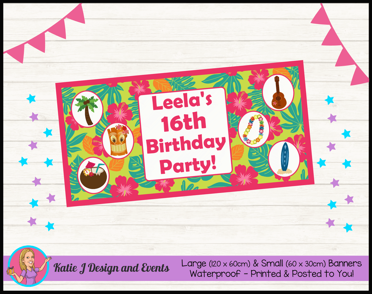 Personalised Ladies Hawaiian Birthday Party Banners