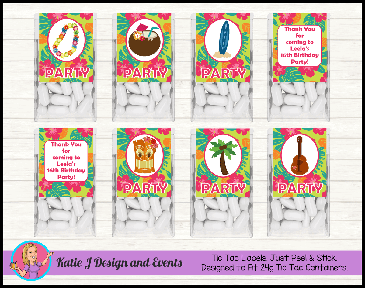 Personalised Ladies Hawaiian Birthday Party Tic Tac Mint Labels Favours