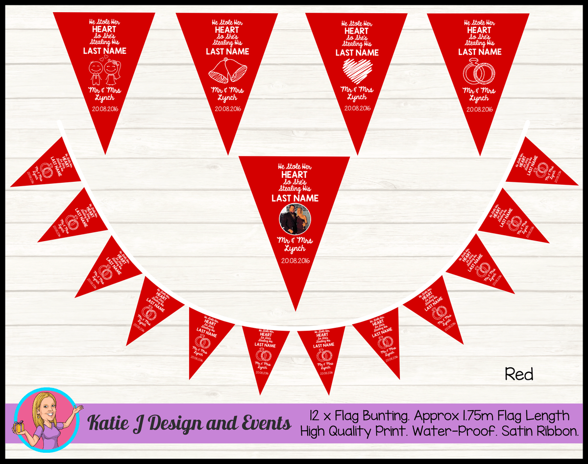 Personalised HE STOLE HER HEART Wedding Banners & Flag Bunting