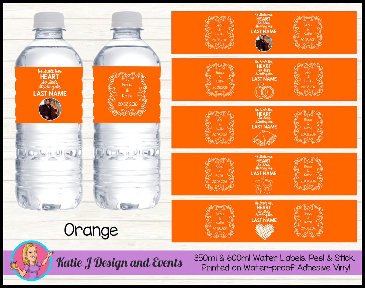 He Stole Her Heart Wedding Water Labels