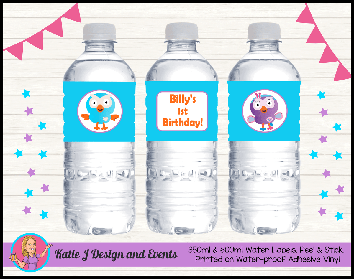 Personalised Hoot & Hootabelle Party Water Labels