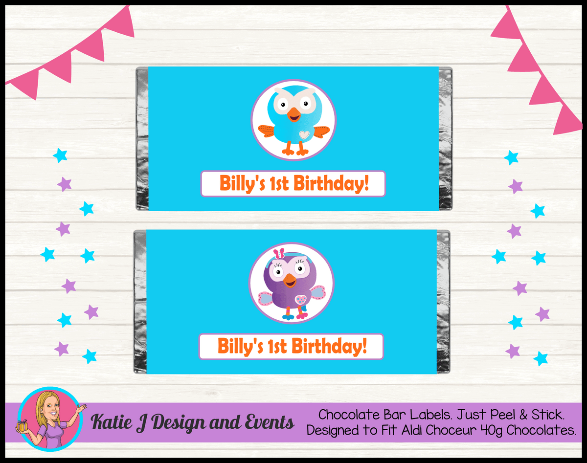 Personalised Hoot & Hootabelle Birthday Party Chocolate Labels Wrappers