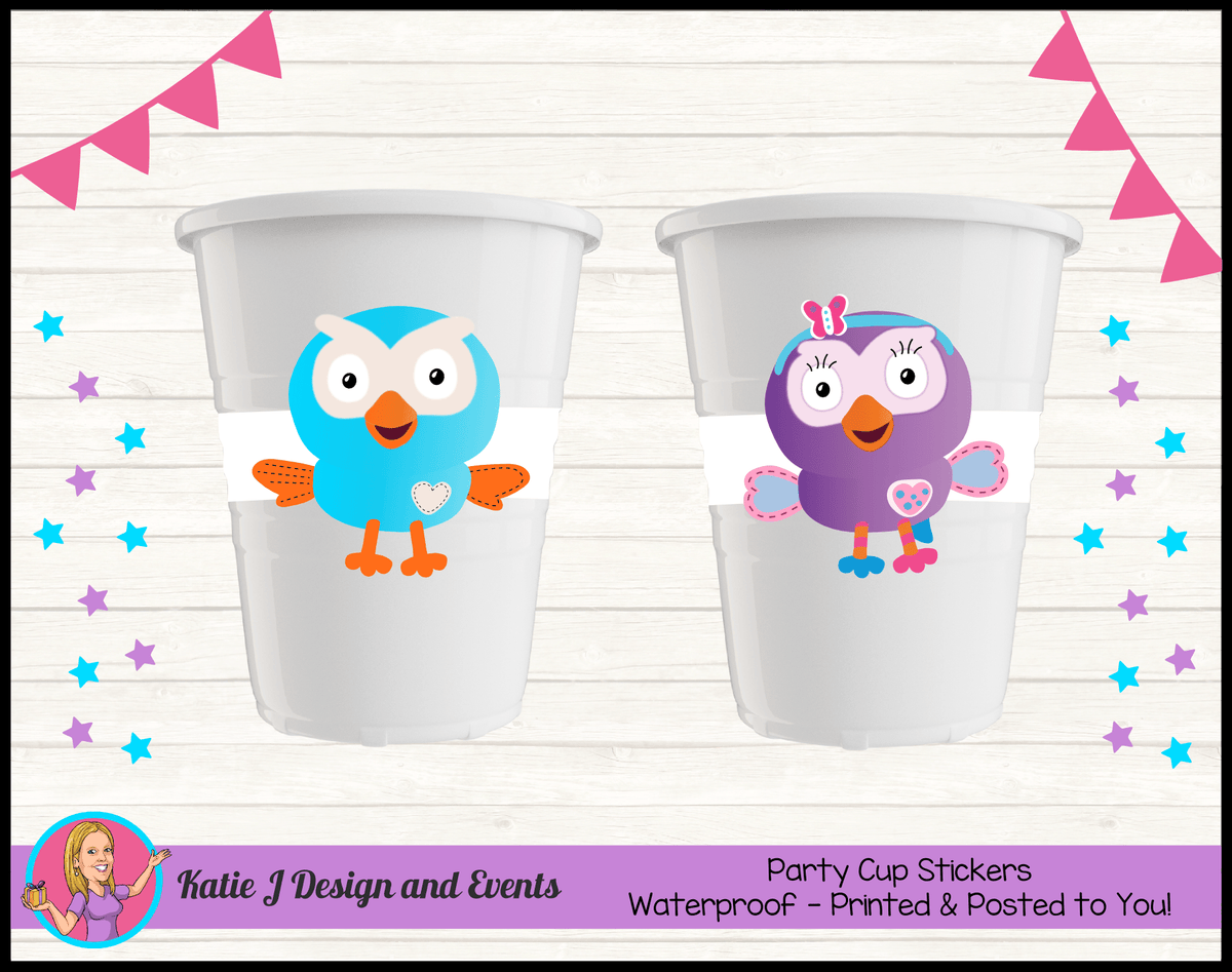 Personalised Hoot & Hootabelle Birthday Party Cup Stickers Cups