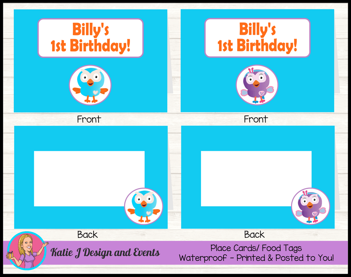 Personalised Hoot & Hootabelle Birthday Party Place Cards
