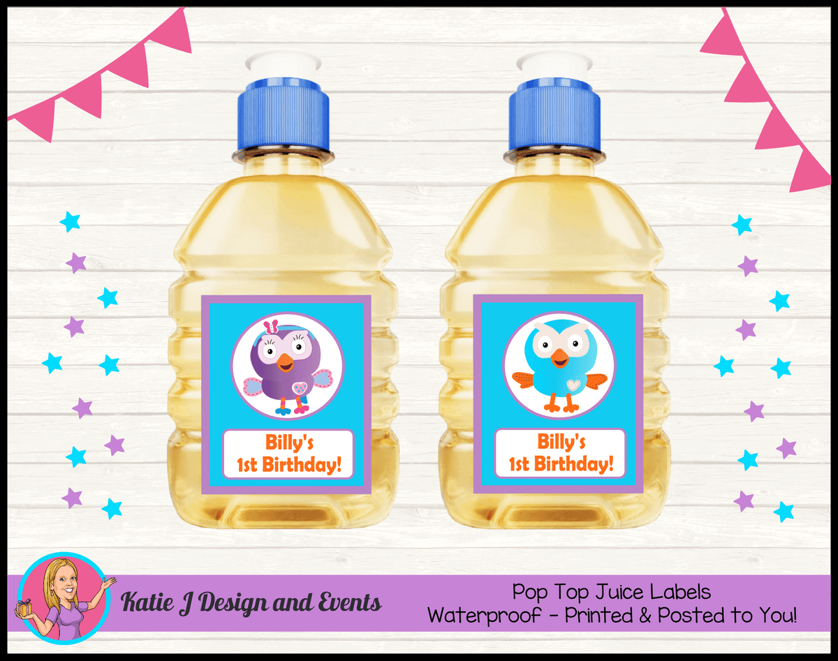 Personalised Hoot & Hootabelle Pop Top Juice Labels