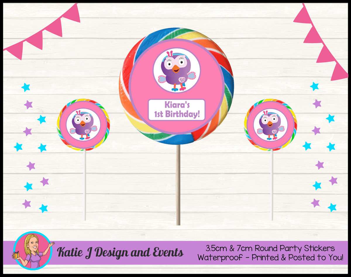 Personalised Hootabelle Birthday Party Round Lollipop Stickers