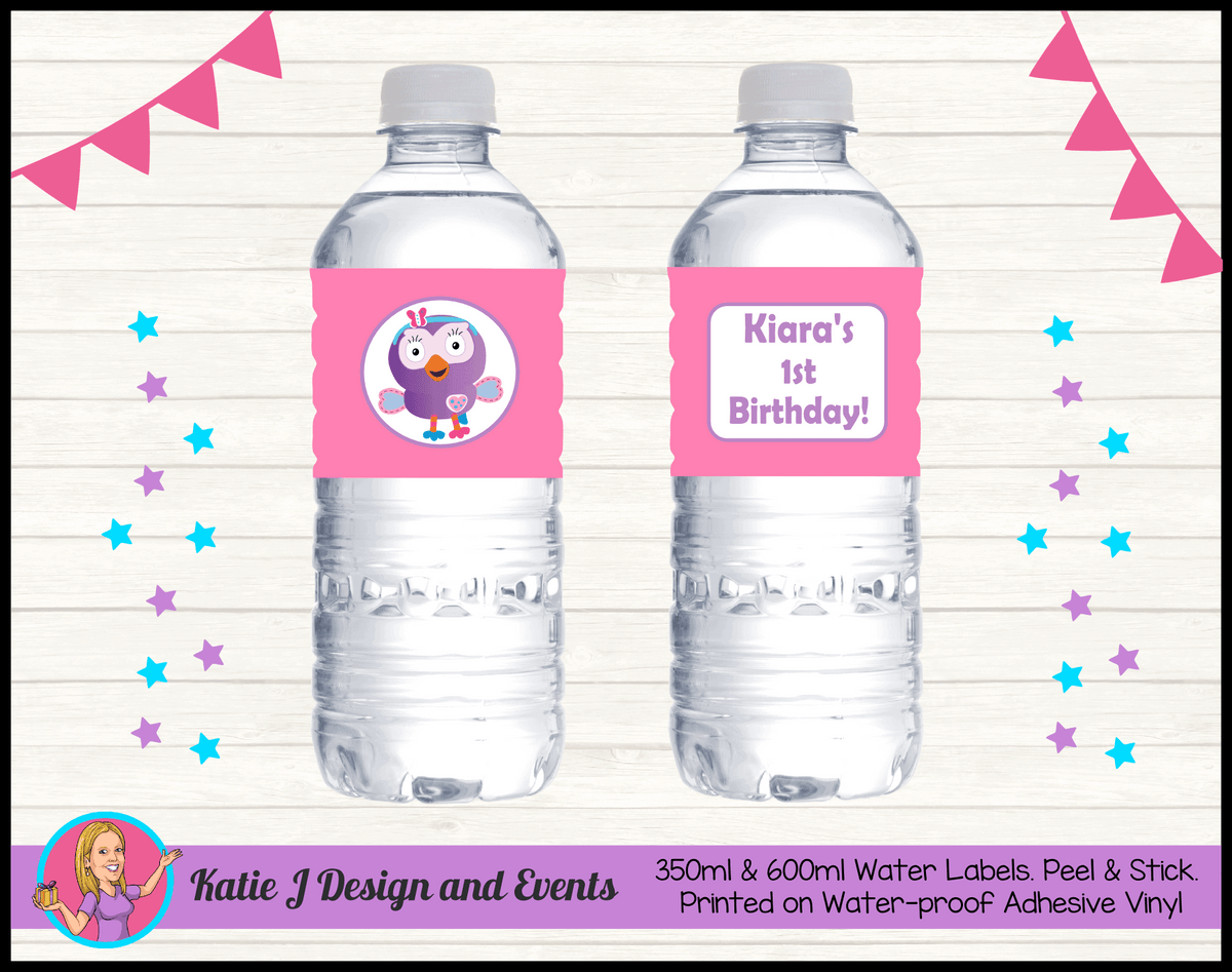 Personalised Hootabelle Party Water Labels