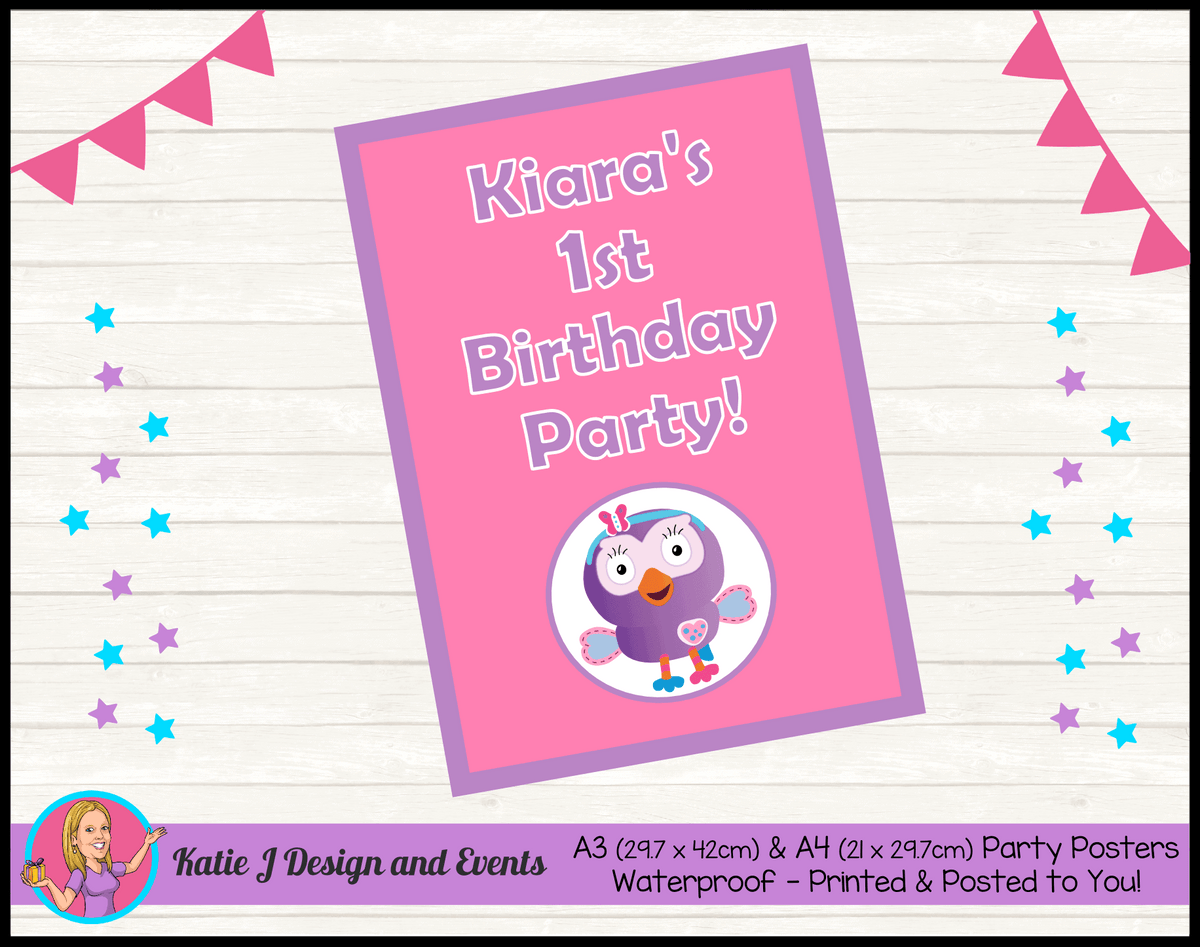 Personalised Hootabelle Birthday Party Poster