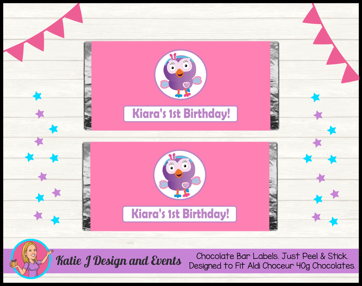 Personalised Hootabelle Birthday Party Chocolate Wrappers Labels