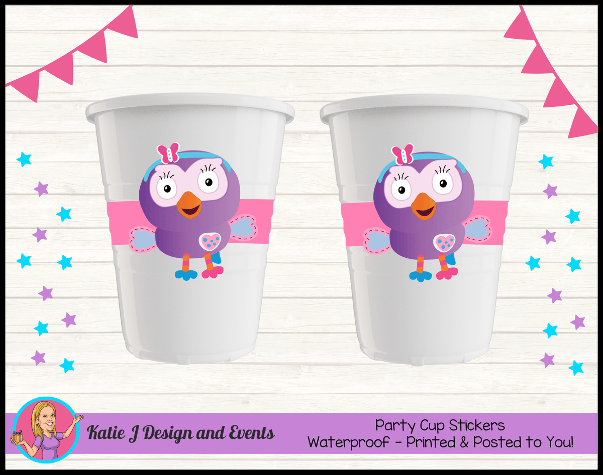 Personalised Hootabelle Birthday Party Cup Stickers Cups
