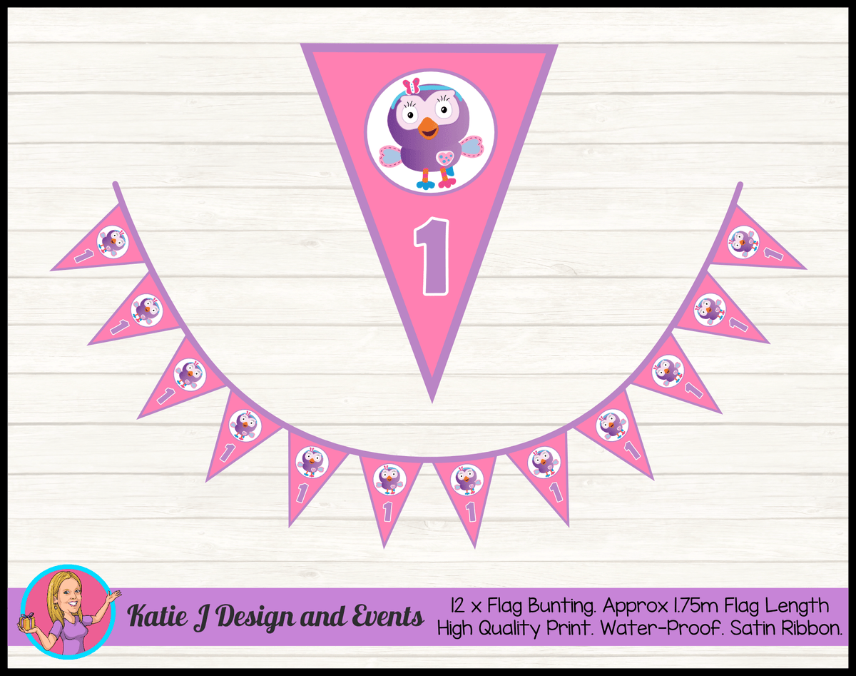 Personalised Hootabelle Birthday Party Flag Bunting