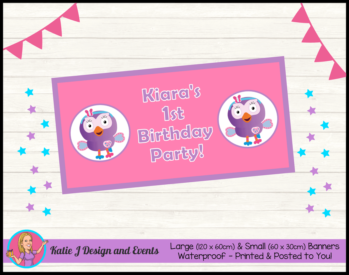 Personalised Hootabelle Birthday Party Banner