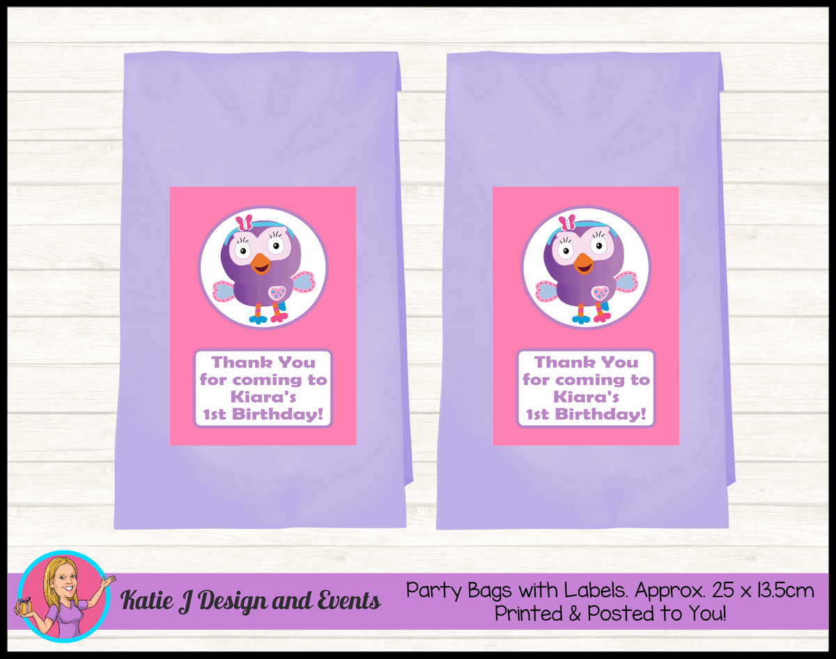 Personalised Hootabelle Birthday Party Loot Bags