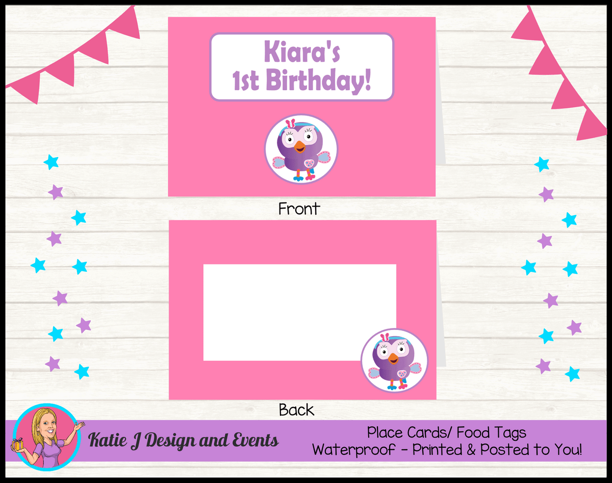 Personalised Hootabelle Birthday Party Place Cards