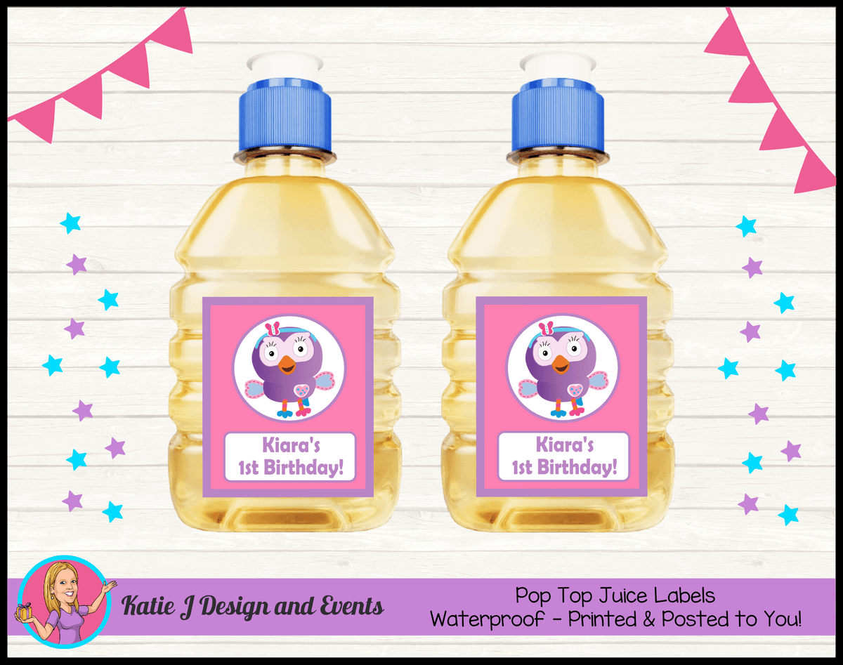 Personalised Hootabelle Party Pop Top Juice Labels