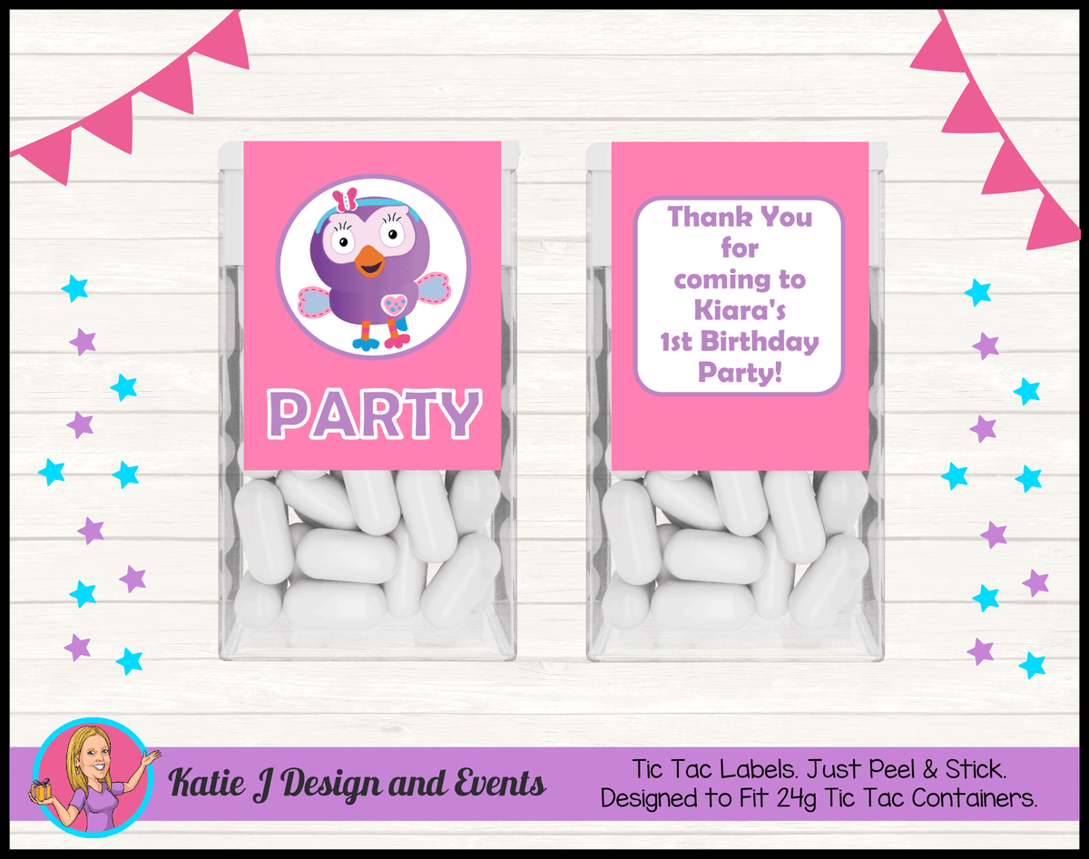 Personalised Hootabelle Party Tic Tac Mint labels