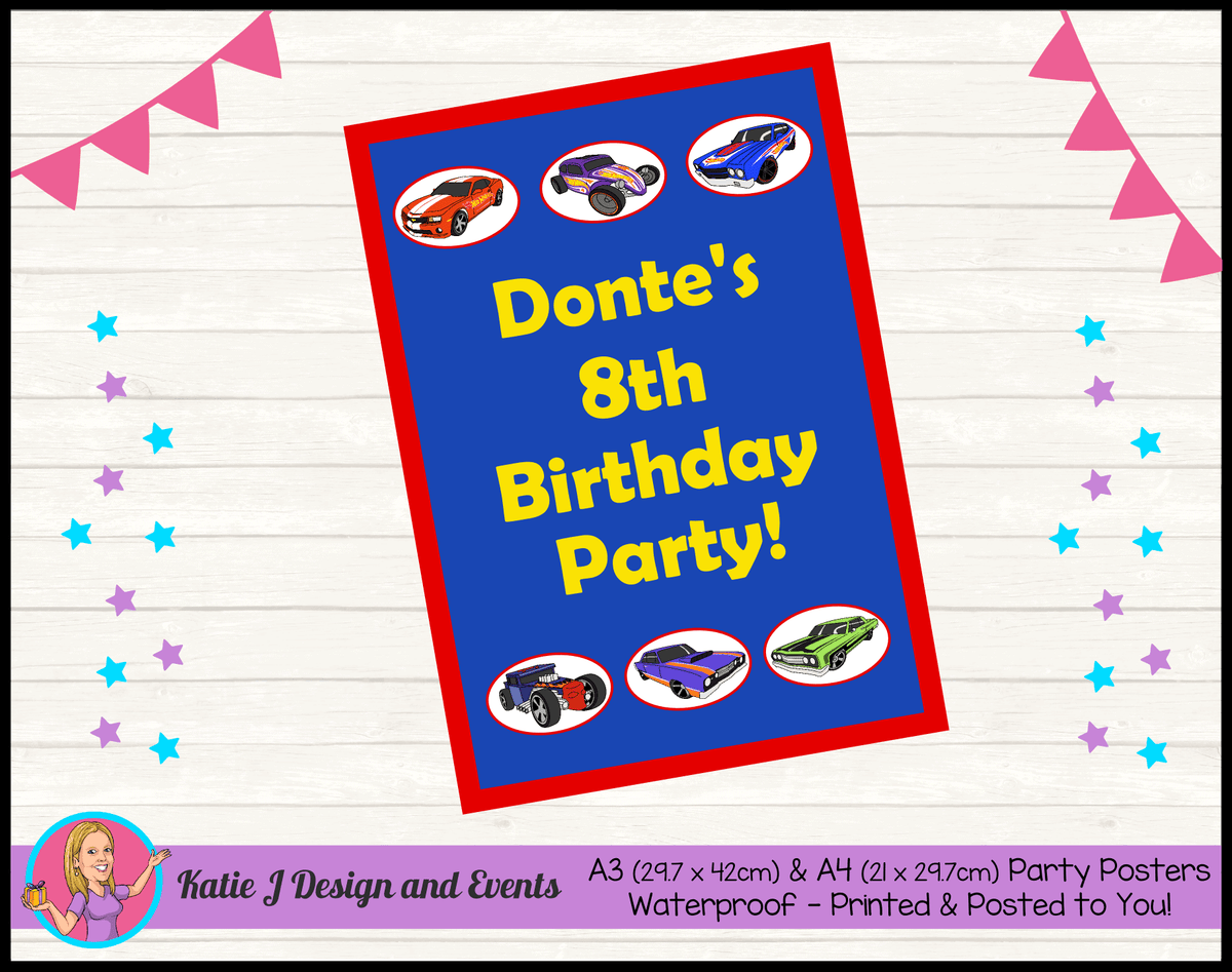 Personalised Hot Wheels Birthday Party Poster