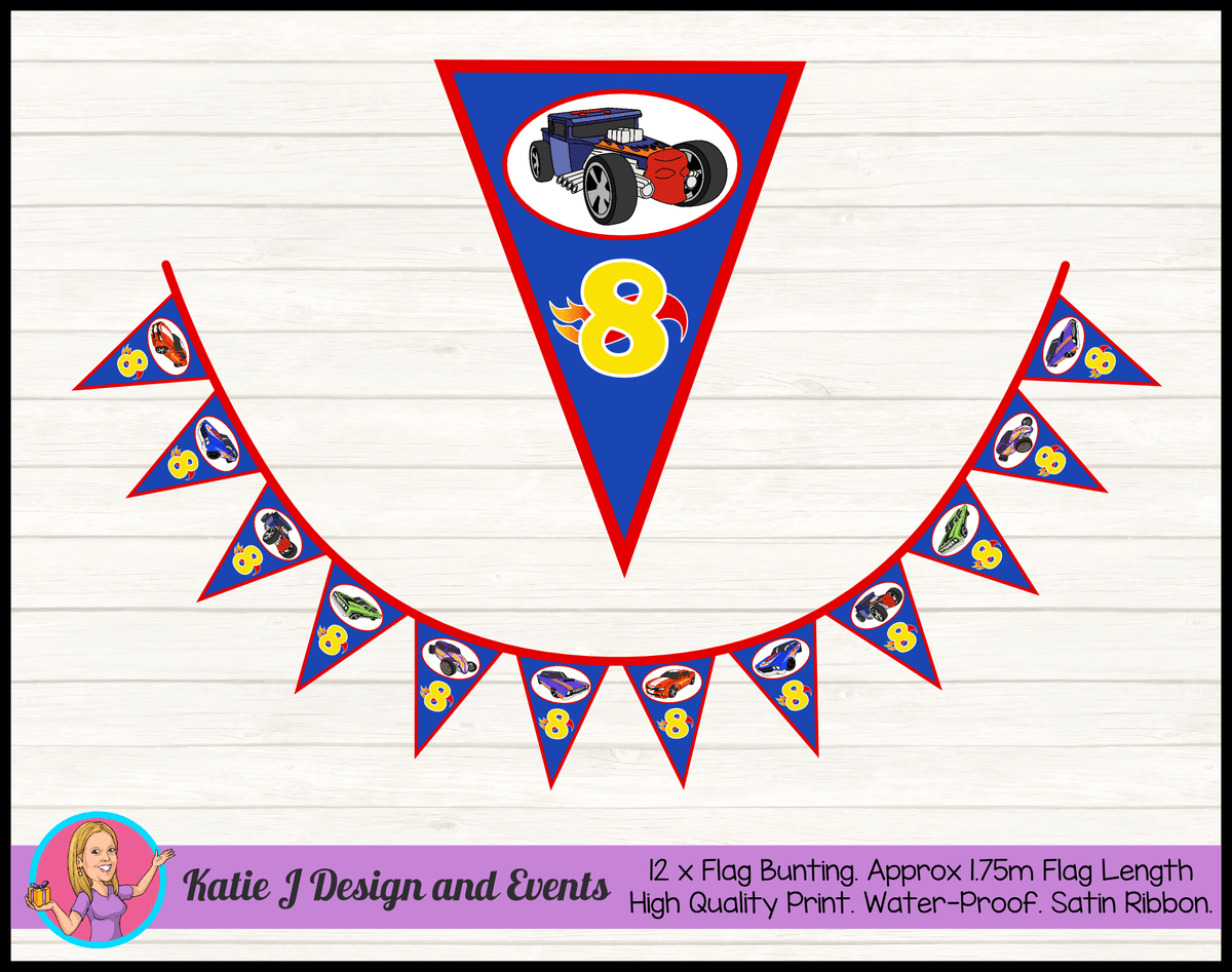 Personalised Hot Wheels Birthday Party Flag Bunting