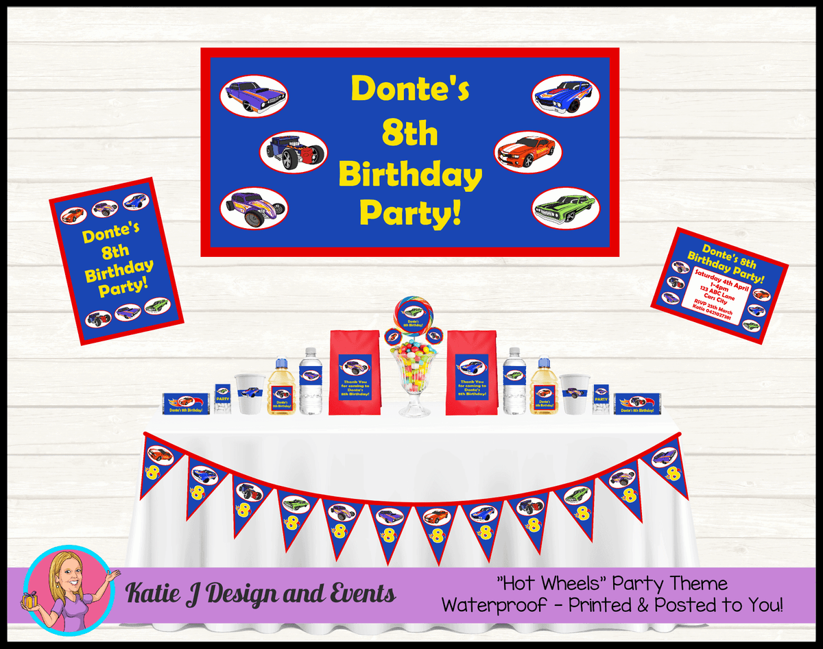 Personalised Hot Wheels Party Packs Decorations Supplies
