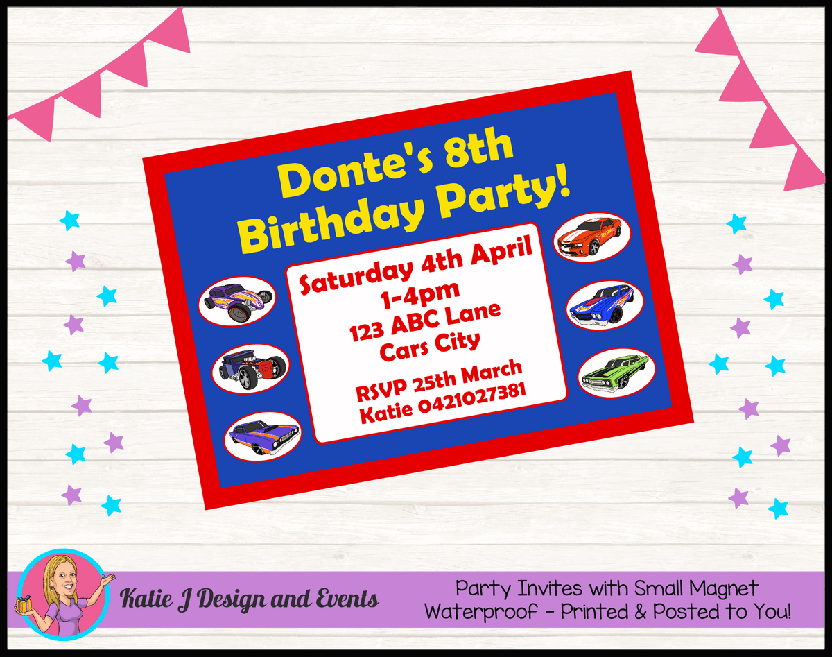Personalised Hot Wheels Birthday Party Invites Invitations