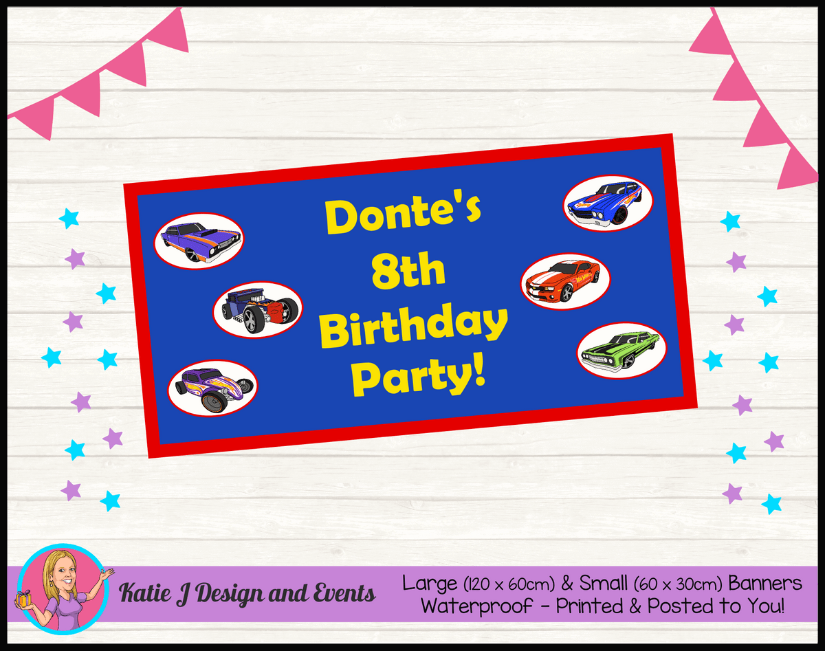 Personalised Hot Wheels Birthday Party Banner