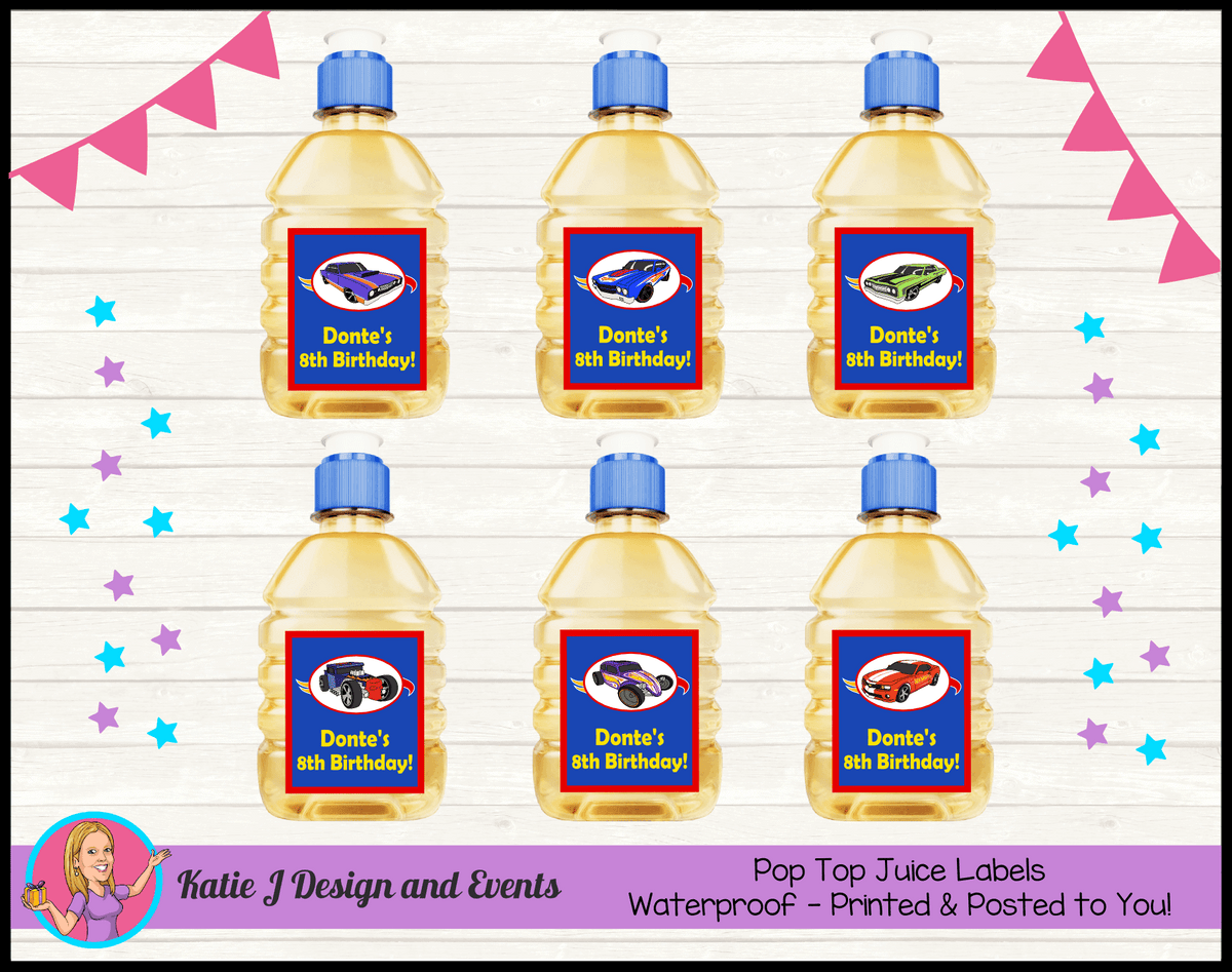 Personalised Hot Wheels Party Pop Top Juice Labels