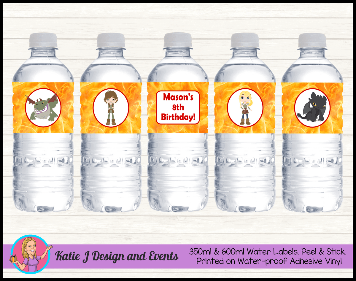 Personalised How to Train your Dragon Party Water Labels