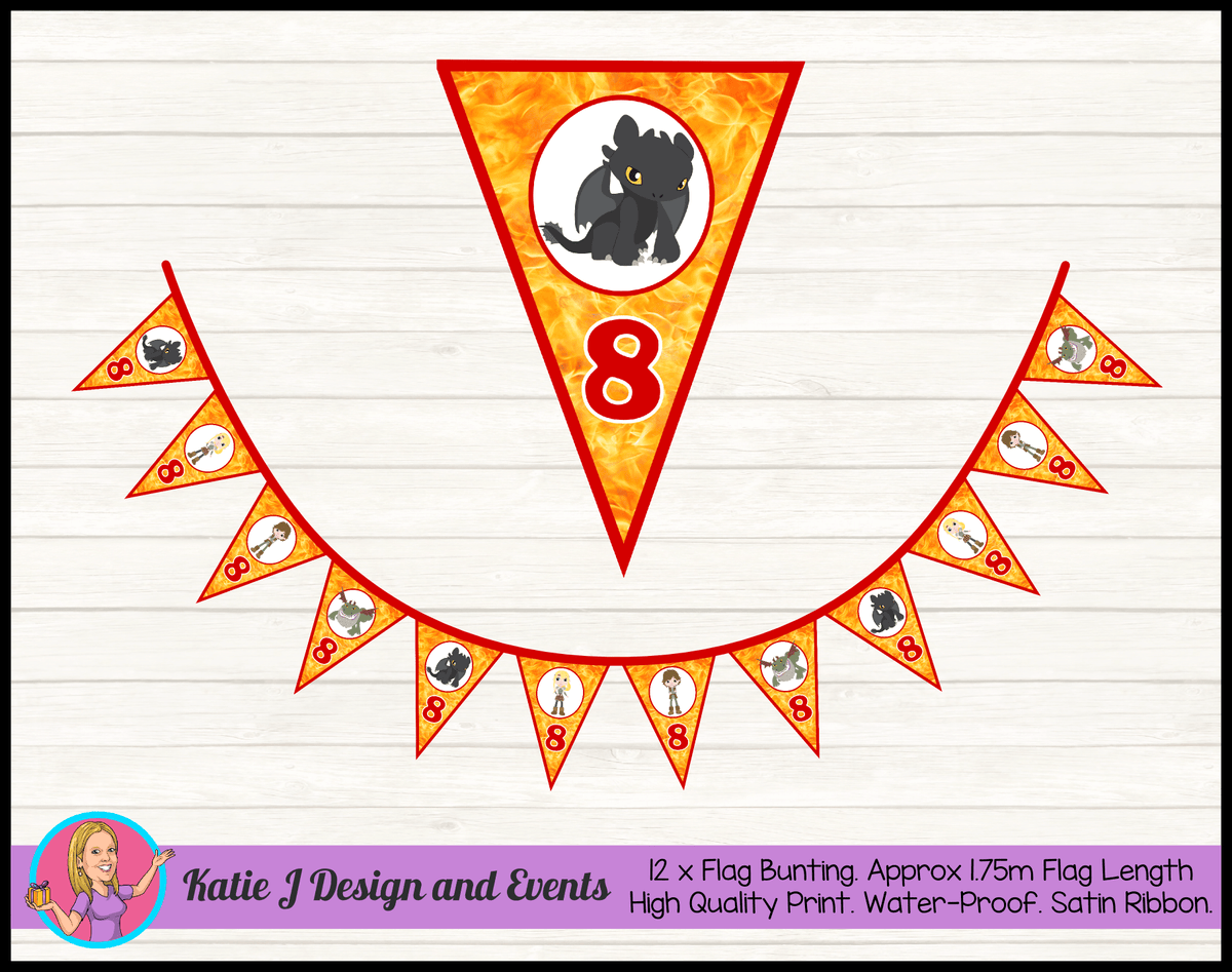 Personalised How to Train your Dragon Birthday Party Flag Bunting