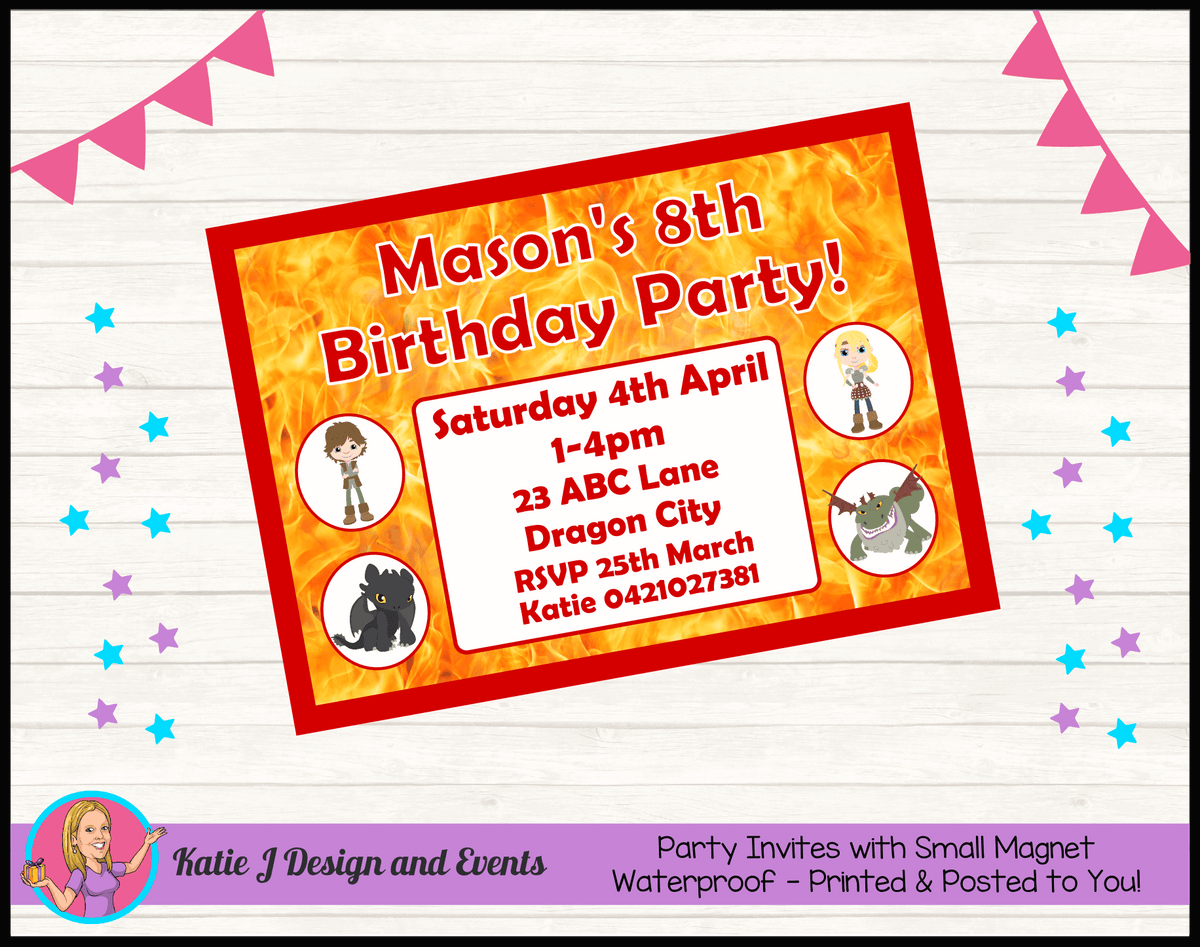 Personalised How to Train your Dragon Birthday Party Invites