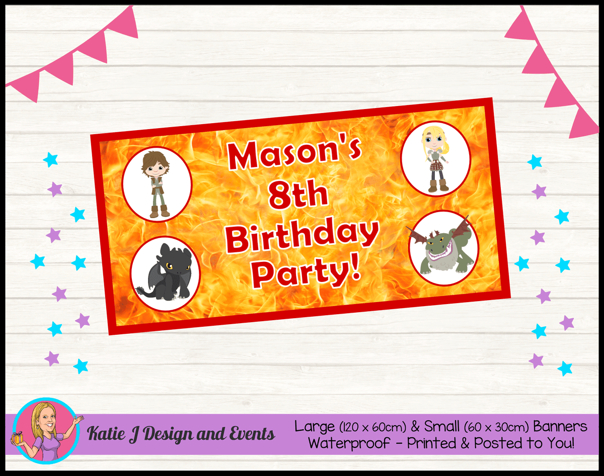 Personalised How to Train your Dragon Birthday Party Banner