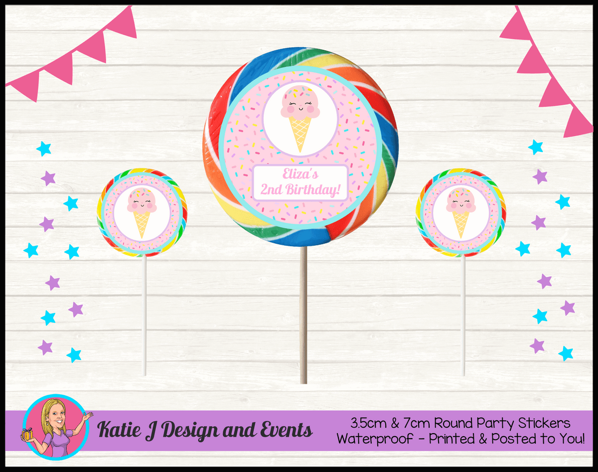 Personalised Girls Ice Cream Party Round Lollipop Stickers