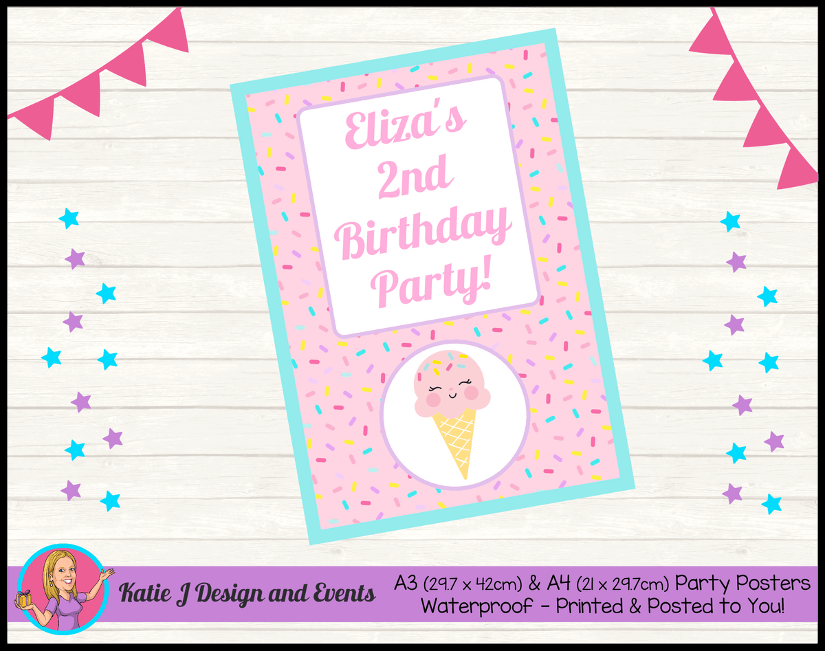 Personalised Girls Ice Cream Birthday Party Poster